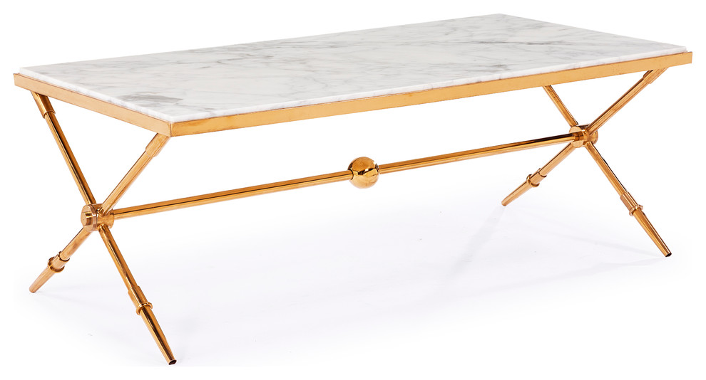 Ordinaire Hudson Marble Top Cocktail Table, Antique Gold