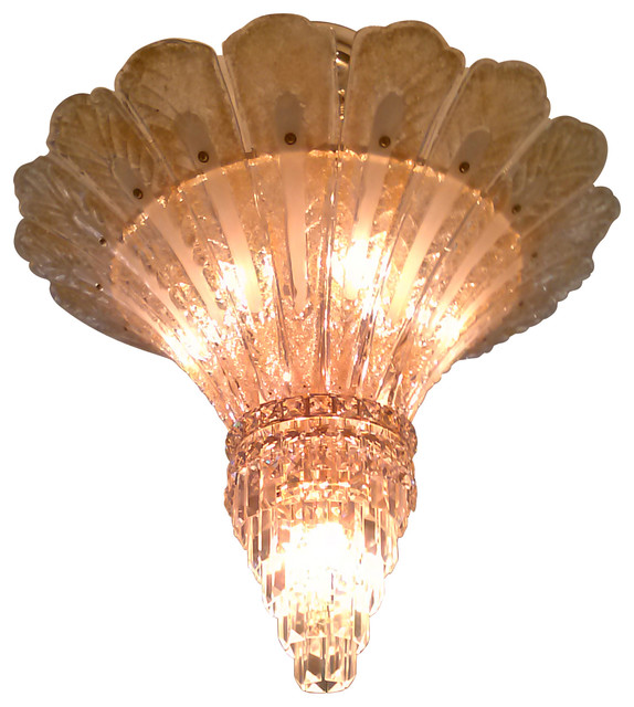 Lyric 9-Light Chandelier With Murano Style Gold Glass Leaves, Gold ...