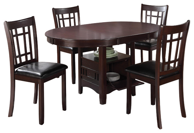 Espresso Lavon 5 Piece Dining Set, Storage Solid Wood Table Padded Vinyl  Seat