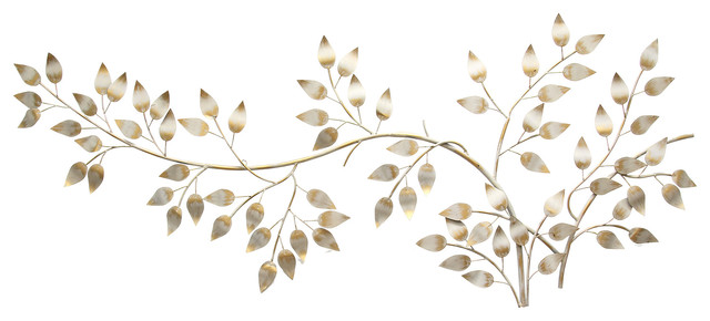 Metal Leaves Wall Decor stratton brushed gold flowing leaves wall decor - traditional