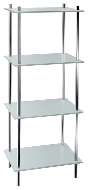Smedbo 3 shelves free standing polished chrome - Bathroom shelves stainless steel ...