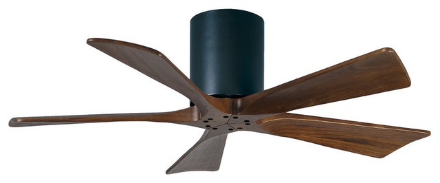 "Irene-5 42"" Hugger Ceiling Fan, Brushed Nickel With Walnut Blades."