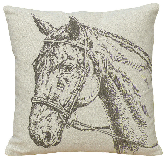 Horse Printed Linen Pillow With Feather-Down Insert.