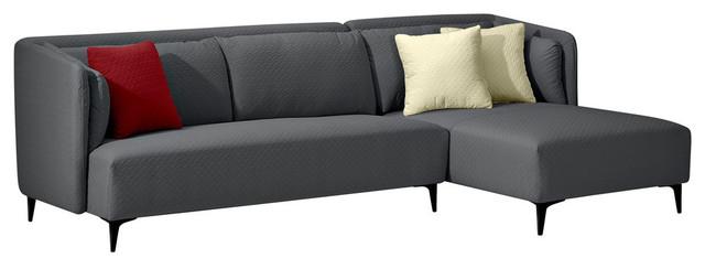 2-Piece Sectional Sofa Set, Gray.