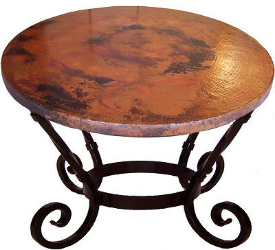 Big Round Hammered Copper Table Dining Tables By Fine Crafts - Hammered copper round dining table