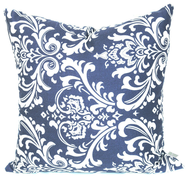 Navy Blue French Quarter Large Pillow 20x20 Transitional Outdoor Cushions  And Pillows