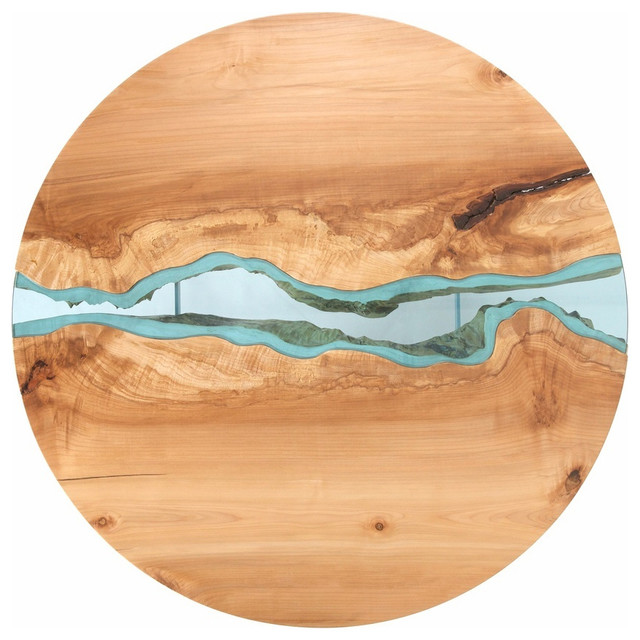 Round Live edge wood coffee table with Glass River