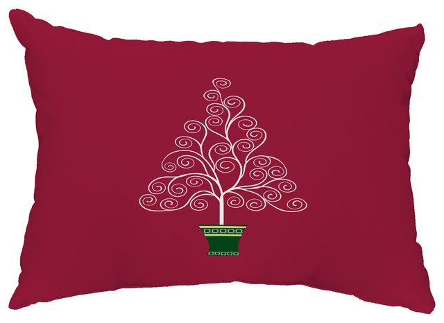 """Filigree Tree 14""""x20"""" Decorative Christmas Outdoor Pillow, Red"""