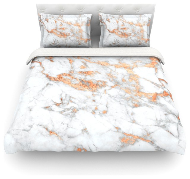 Kess original rose gold flake white pink featherweight for Black and white marble bedding