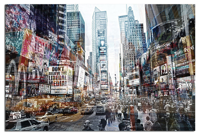 Tempered Glass Wall Art, 3D Times Square New York 2 Traditional Prints And