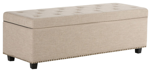 Hamilton Large Rectangular Storage Ottoman Bench, Natural