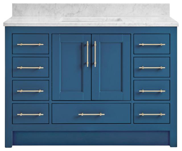 Kendall Deep Blue Bathroom Vanity Toe Kick Base Transitional Bathroom Vanities And Sink Consoles By Houzz