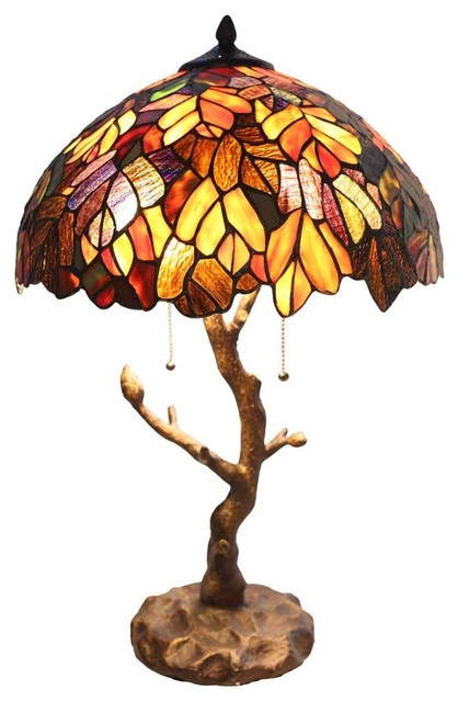 24.5 Stained Glass Marvel Maple Table Lamp With Tree Trunk Base.