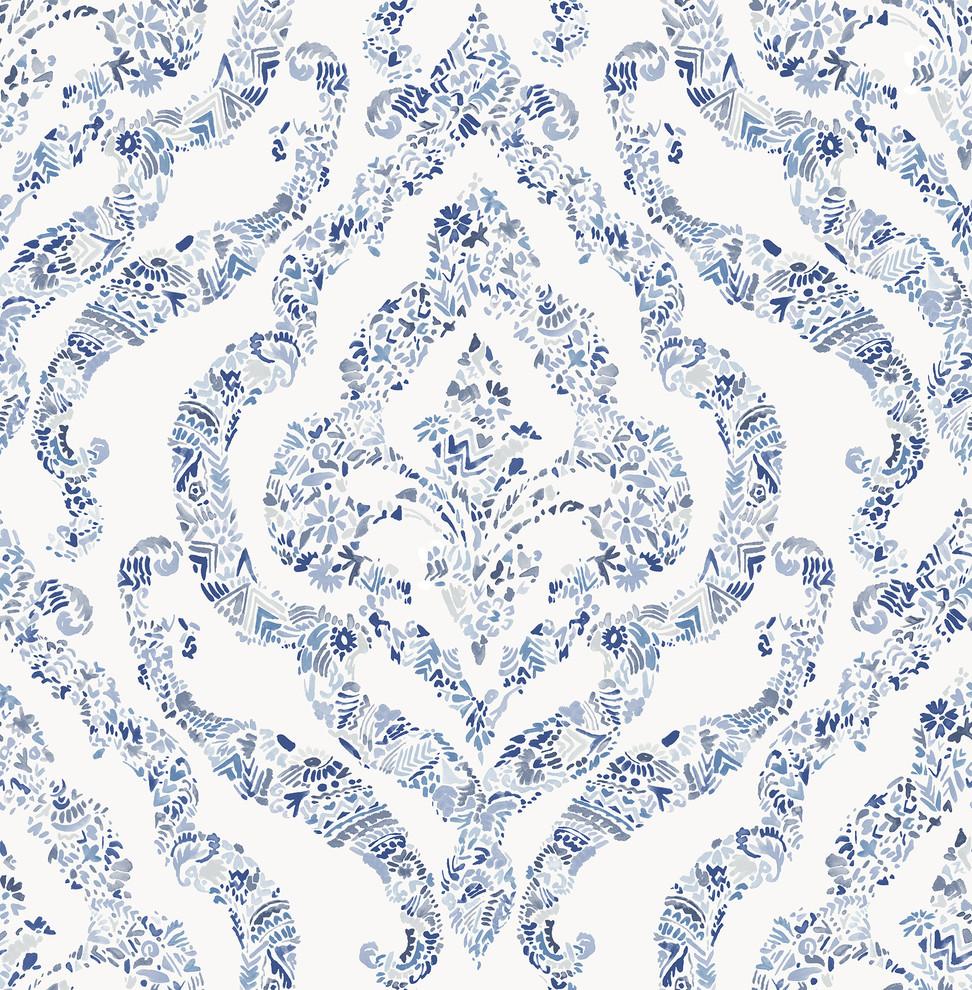 Featherton Blue Floral Damask Wallpaper Contemporary Wallpaper