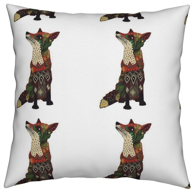 Fox Botanical Swatch Flowers Art Animal Throw Pillow Cover Linen Cotton.