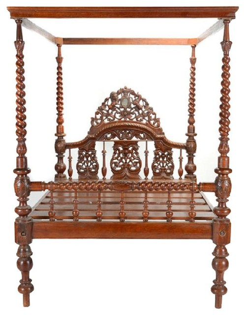 Consigned, 19th Century Anglo Indian Canopy Bed.