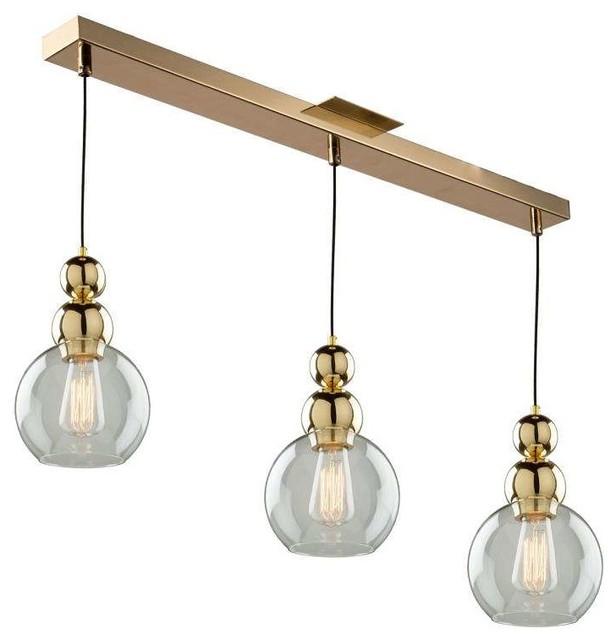 Etobicoke 3-Light Island Light In Gold
