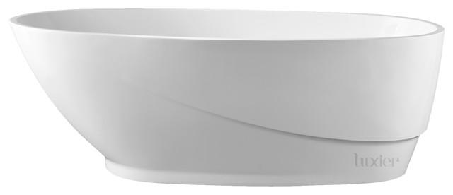 "Luxier Fsb-007 67"" Luxury Contemporary Freestanding Bathtub Spa White Acrylic."
