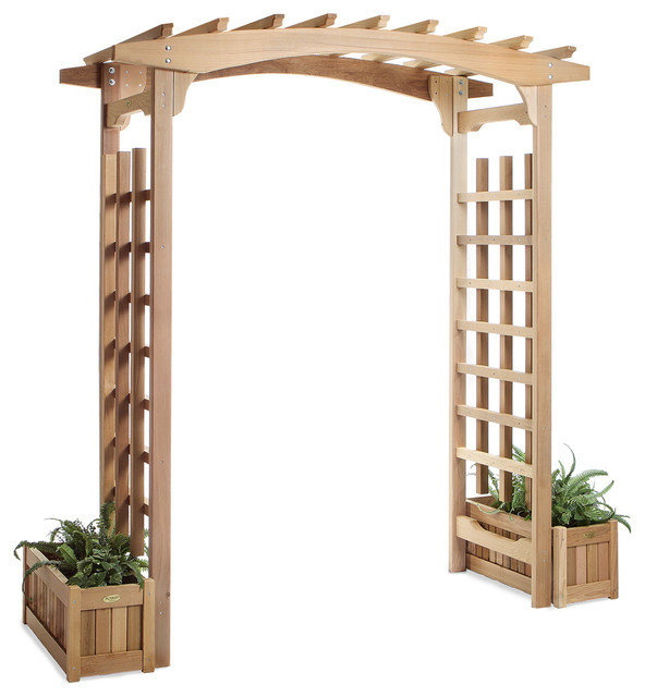 Cedar Garden Pagoda Arbor With Planters Traditional