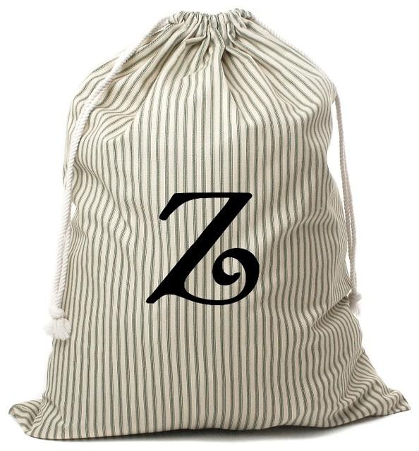 Personalized Drawstring Bag, Green Striped, Z.