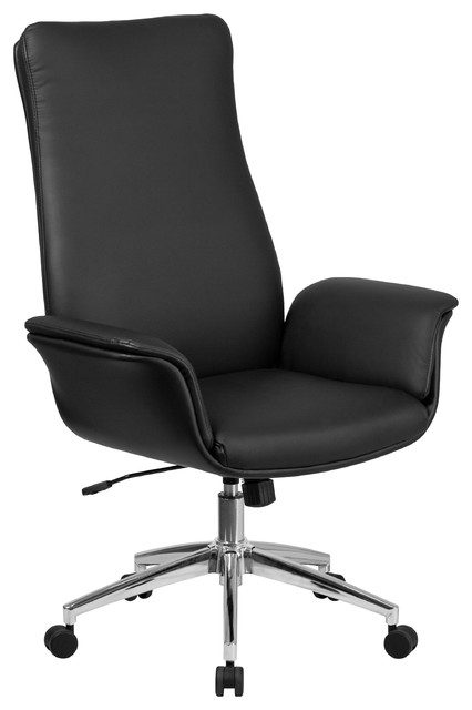 MFO High Back Black Leather Executive Swivel Chair with Flared Arms