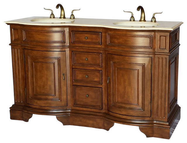 60 Traditional Style Double Sink Bathroom Vanity Model 6060 Traditional Bathroom Vanities And Sink Consoles By Chinese Arts Inc Houzz