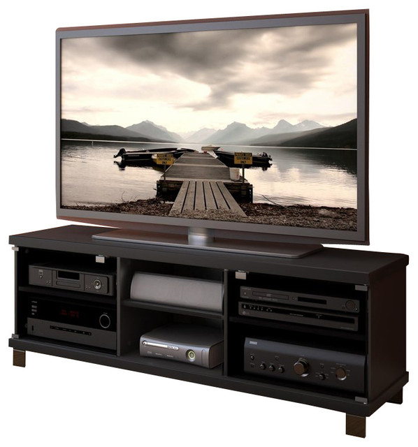 Beautiful Sonax Hollow Core TV Stand And Component Bench In Midnight Black Finish  Modern Entertainment