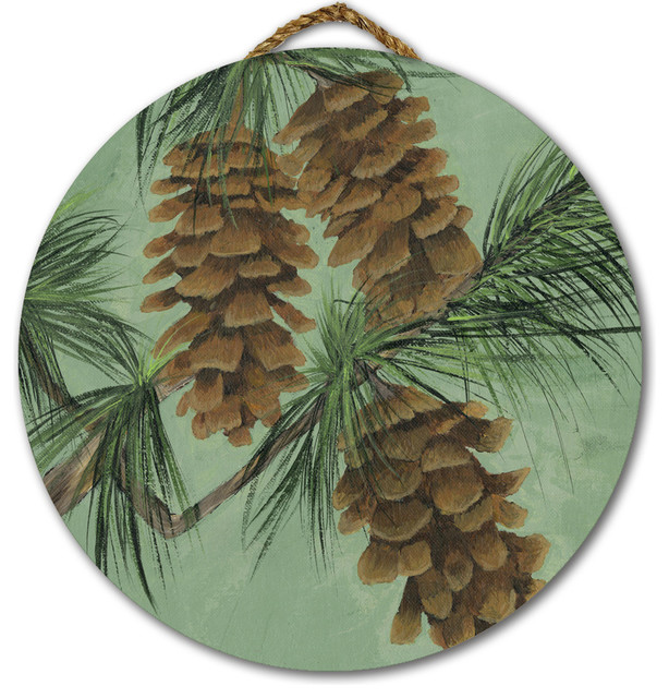 Round Wall Art, Pine Cone New, 18\