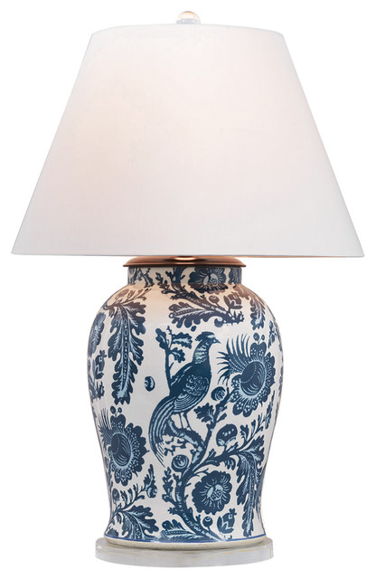 Adrial Global Indigo Blue Floral Bird Porcelain Table Lamp Beach Style Table  Lamps