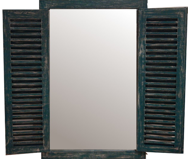 Green Rectangle Rustic Shutter Wall Mirror 47x31   Living Room Or Bedroom  Wall Mirrors