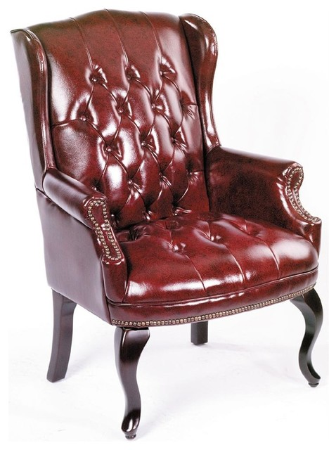 Charmant Wingback Chair In Burgundy Vinyl Button Tufting, Nail Head Trim