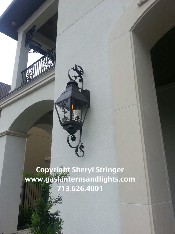 Sheryl's French Chateau Natural Gas Lantern with Solid Top and Dark Patina Finis