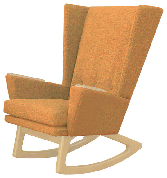Mid Century Modern Rocking Chair Wingback Rocker Mustard Seed Yellow Gold