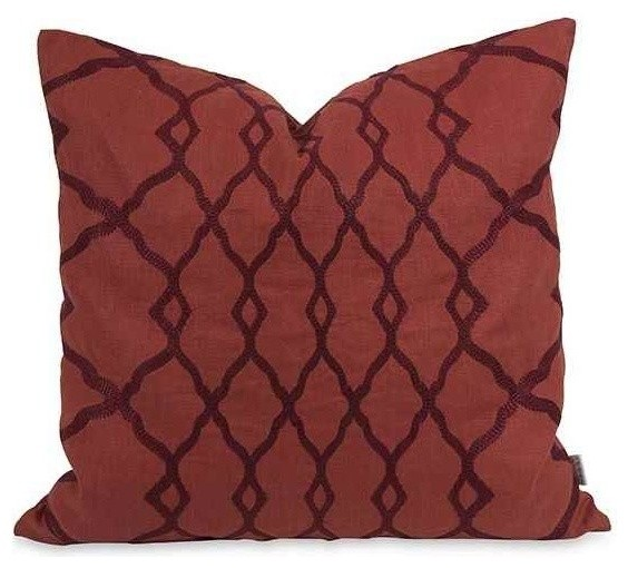 Imax Worldwide Home - Embroidered Pillow, Red & Reviews Houzz