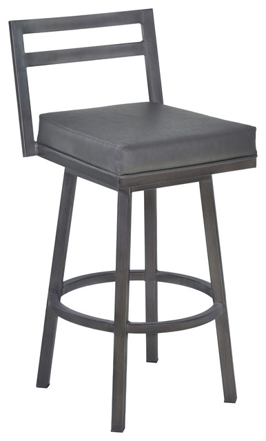 "Moniq Swivel Bar Stool, Vintage Gray Faux Leather And Mineral, 26""."