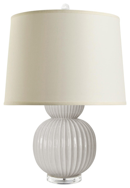 Jareth Modern Classic Double Gourd Grey Ceramic Linen Table Lamp
