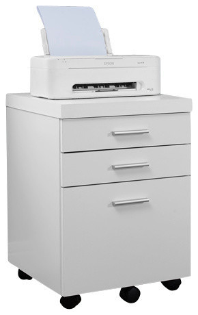 3-Drawer Filing Cabinet, White on Casters - Modern - Filing Cabinets - by YoloStocks