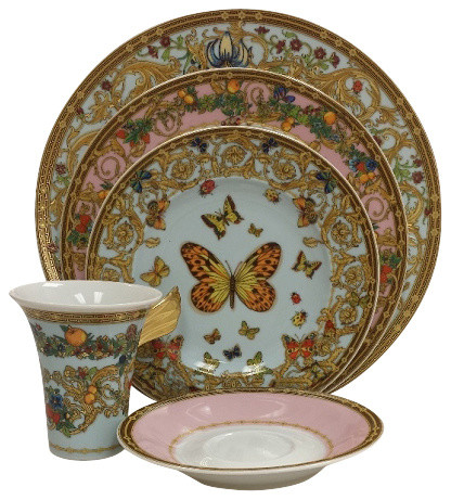 ... Tabletop · Dinnerware · Dinnerware Sets. Versace Le Jardin Butterfly Garden 5-Piece Place Setting High Cup  sc 1 st  Houzz : versace tableware set - pezcame.com