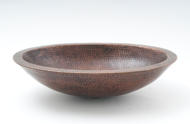 """19"""" Oval Double Wall Hammered Copper Vessel Bar Sink."""