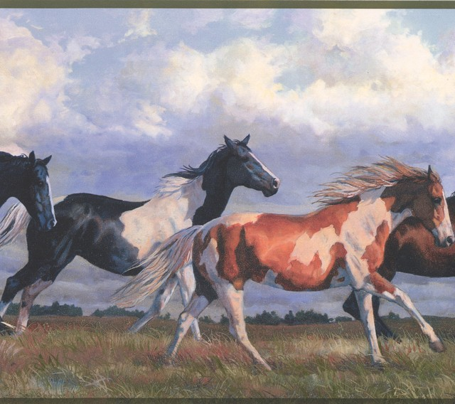 Horses Running Wild Blue Sky Wallpaper Border Retro Design Roll 15