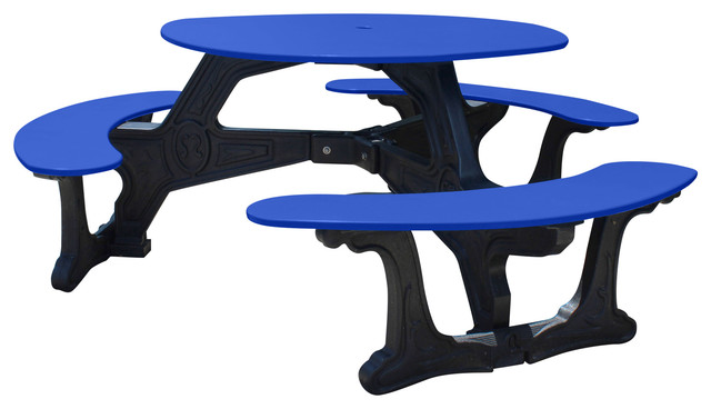 Recycled Plastic Heritage Round Seat Picnic Table Black Frame - Recycled plastic round picnic table