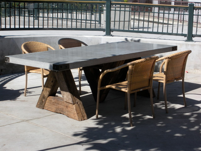 Triangle Table with Concrete Top Eclectic Dining Room San