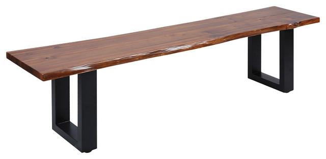 Incredible Fleming Living Edge Acacia Wood Bench Inzonedesignstudio Interior Chair Design Inzonedesignstudiocom