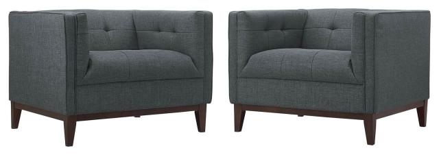 Gray Serve Armchairs Set of 2