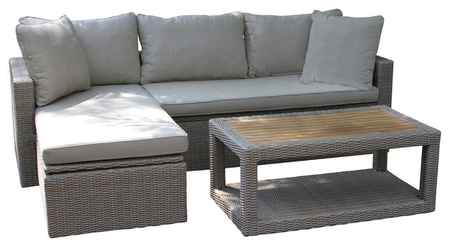 Theo 3-Piece Outdoor Teak Sofa And Table Set.