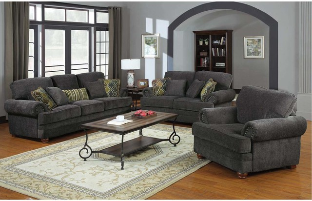 Captivating Coaster Traditional Grey Chenille Sofa Couch Loveseat Accent Arm Chair  Contemporary Sofas
