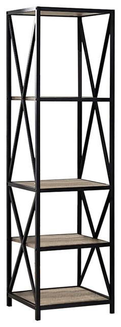 61 Tall X-Frame Metal And Wood Media Bookshelf, Driftwood.