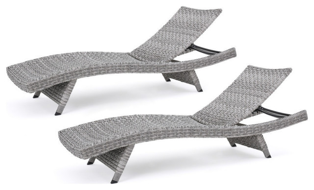 GDF Studio Isle of Palms Outdoor Gray Wicker Chaise Lounge, Set of 2