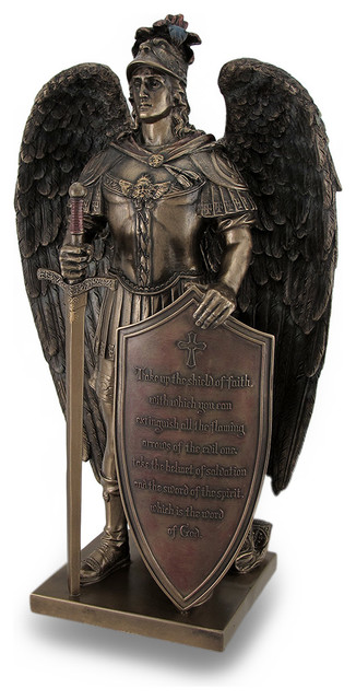Take Up The Shield Of Faith Warrior Angel Statue Bible