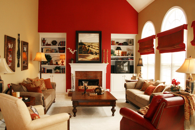 Open Family Room & Breakfast Area in Bold Colors traditional-family-room